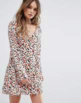 Glamorous Button Front Dress In Floral Print