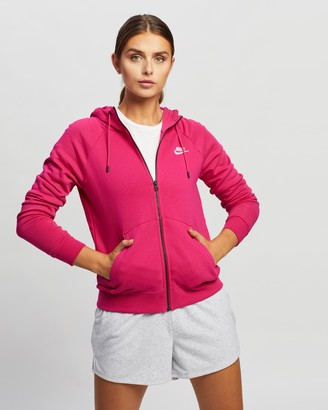 Nike Women's Pink Hoodies - Sportswear Essential Full-Zip Fleece Hoodie - Size S at The Iconic