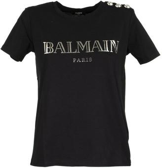 Balmain Black Cotton T-shirt With Silver Logo Print