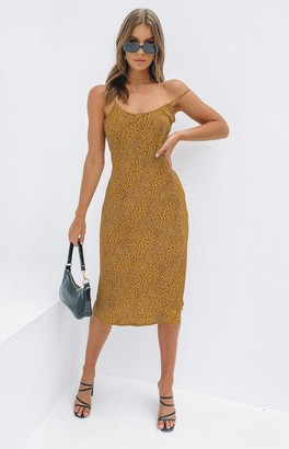 Beginning Boutique Beyond Her Bobbie Midi Slip Yellow Leopard