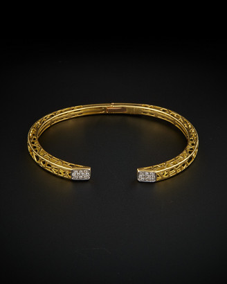 Italian Gold 18K Two-Tone 0.20 Ct. Tw. Diamond Filigree Cuff