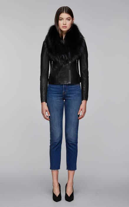Mackage YOANA-SP biker leather jacket with fur collar