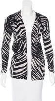 Magaschoni Cashmere Zebra Print Cardigan