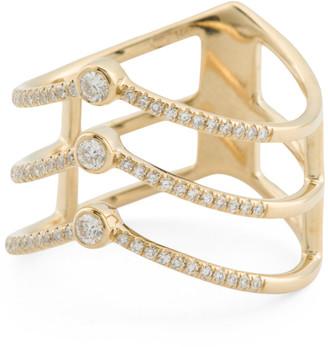 14kt Gold Diamond Three Row Bezel Set Chevron Ring