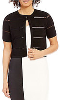Calvin Klein Round Neck Short Sleeve Ottoman Shrug