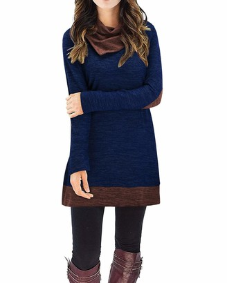 STYLEWORD Women's Cowl Neck Tops Long Sleeve Elbow Patchs Patchwork Casual Tunics(Navy M)