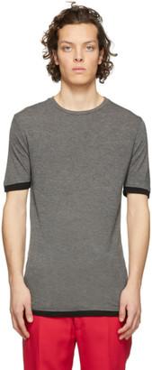 Neil Barrett Grey Viscose Travel Double Hem Slim T-Shirt