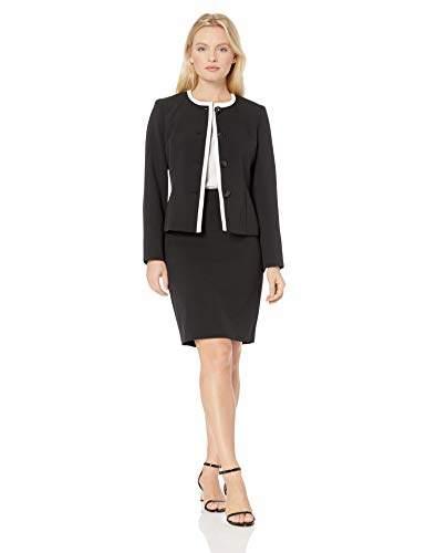 Le Suit Women's Petite 4 Button Jewel Neck Skirt Suit