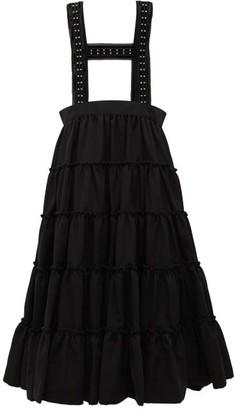 Noir Kei Ninomiya Studded Crepe Pinafore Skirt - Black