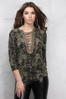 Rare Green Multi Lace Up Camo Printed Top
