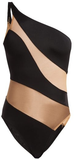 Mio One Shoulder Mesh Panelled Swimsuit - Womens - Black Nude