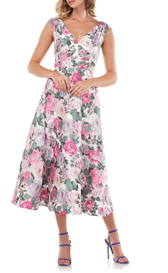 Kay Unger Tivoli Rose Brocade Cocktail Dress