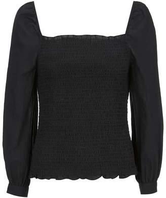 Mint Velvet Black Shirred Square Neck Top
