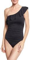 LaBlanca La Blanca Flirtatious One-Shoulder Ruffle Swimsuit