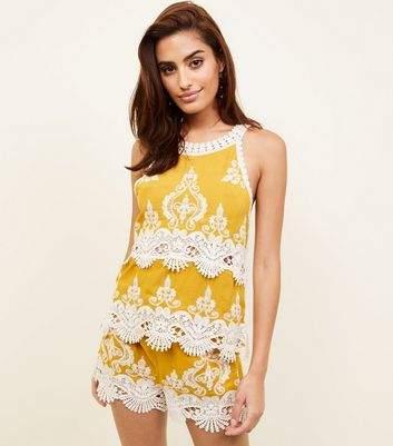 New Look Mustard Yellow Crochet Trim Sleeveless Top