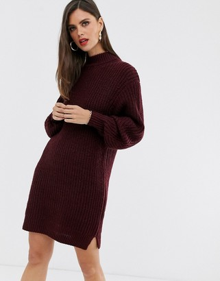 Asos Design DESIGN knitted rib mini dress with chunky crew neck-Red