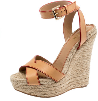 DSQUARED2 Beige Leather Espadrille Ankle Strap Wedge Sandals Size 41