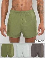 Asos Woven Boxers In Khaki 3 Pack