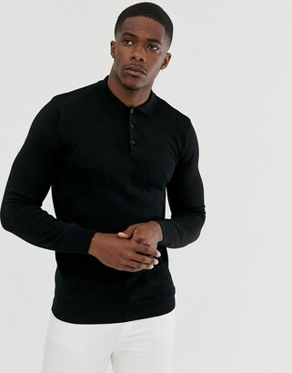 Brave Soul knitted long sleeve polo in black