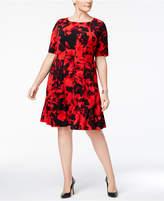 Connected Plus Size Floral-Print A-Line Dress