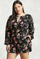 Forever 21 Plus Size Floral Keyhole Romper