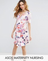 Asos NURSING Mini Tea Dress in Pink Base Floral