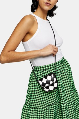 Topshop Womens Black And White Chequered Woven Mini Pouch Bag - Monochrome