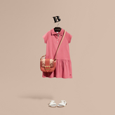 Burberry Check Placket Cotton Blend Polo Shirt Dress