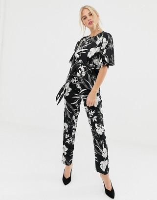 Yumi short sleeve floral monochrome jumpsuit