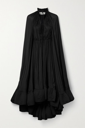 Lanvin Cape-effect Tie-detailed Ruffled Crepe Dress - Black