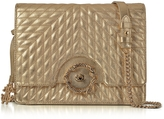 Roberto Cavalli Small Gold Nappa Star Quilted Leather Shoulder Bag