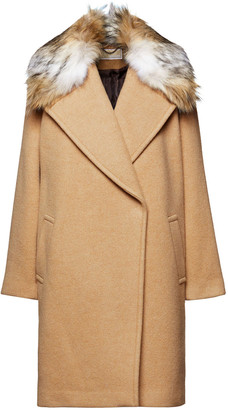 MICHAEL Michael Kors Faux Fur-trimmed Wool-blend Coat