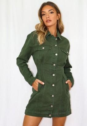 Missguided Khaki Cinched Waist Denim Jacket Dress