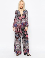 Glamorous Tie Waist Bell Sleeve Jumpsuit
