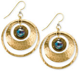 Silver Forest Earrings, Gold-Tone Dyed Abalone Hammered Double Hoop Earrings
