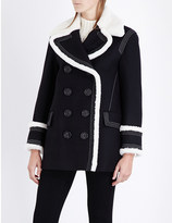 Burberry Colstead shearling-trim wool-blend coat