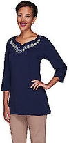 Denim & Co. As Is 3/4 Sleeve Knit Tunic with Embroidered Neckline