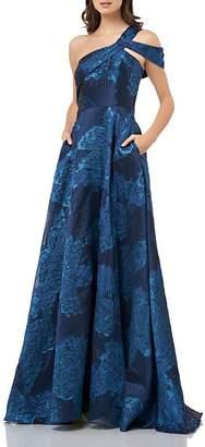 Carmen Marc Valvo Asymmetric Floral Gown
