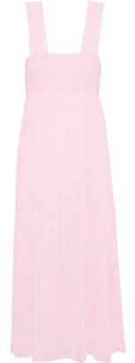 ALEXACHUNG Smocked Georgette Midi Dress