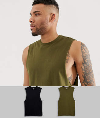 Asos Design DESIGN 2 pack organic sleeveless t-shirt with crew neck and dropped armhole save-Multi