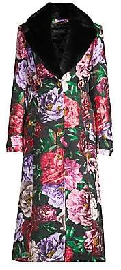 Escada Women's Maylor Floral Rabbit Fur Collar Jacket