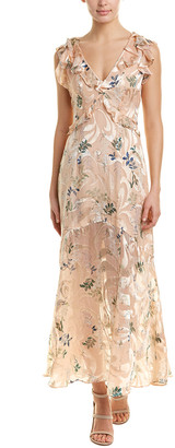 Reiss Almeria Silk-Blend Maxi Dress