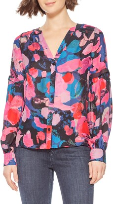Parker Carmela Patterned Silk Blend Blouse