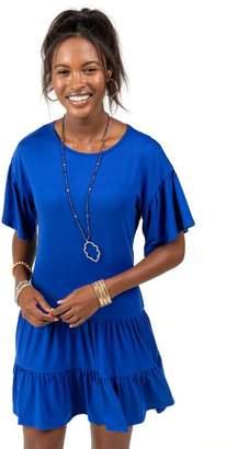 francesca's Elaine Tiered Bottom Knit Dress - Blue