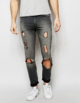 Asos Extreme Super Skinny Jeans With Extreme Rips In Dark Gray