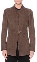 Giorgio Armani Stand-Collar Bracelet-Sleeve Jacket, Mud