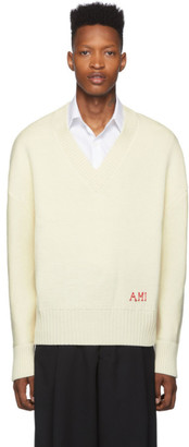 Ami Alexandre Mattiussi Off-White Oversized V-Neck Sweater