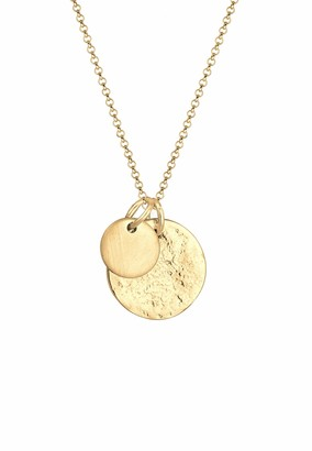 Elli Necklace Women with Two Round Coin Pendants in 925 Sterling Silver - Length 45 cm