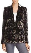 Rebecca Taylor Jewel Floral Print Velvet Blazer