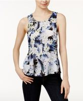 Kensie Tropical Printed Peplum Top